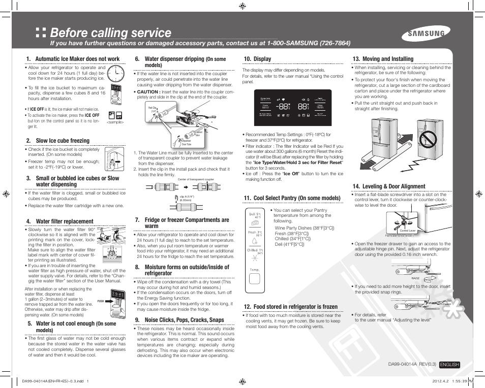Samsung RF263TEAESP-AA User Manual | 2 pages