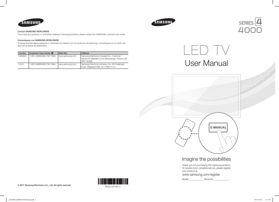 Samsung Un32d4000ndxza User Manual