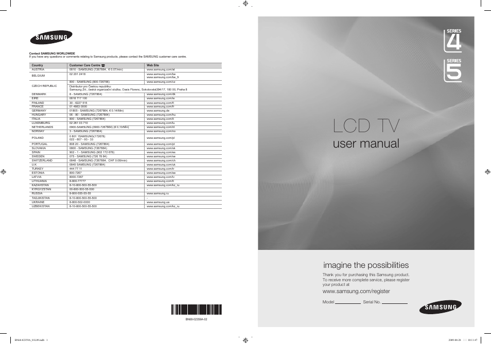 samsung le19b541c4w user manual 318 pages also for