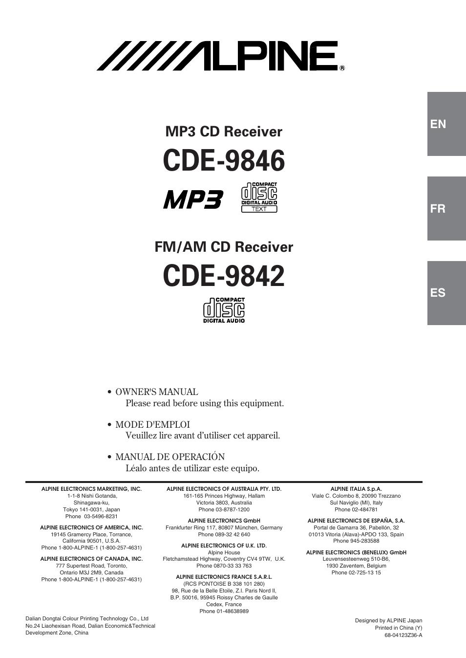 alpine cde 9842 user manual 27 pages rh manualsdir com Alpine CDE iPod Control Alpine CDE- 143BT