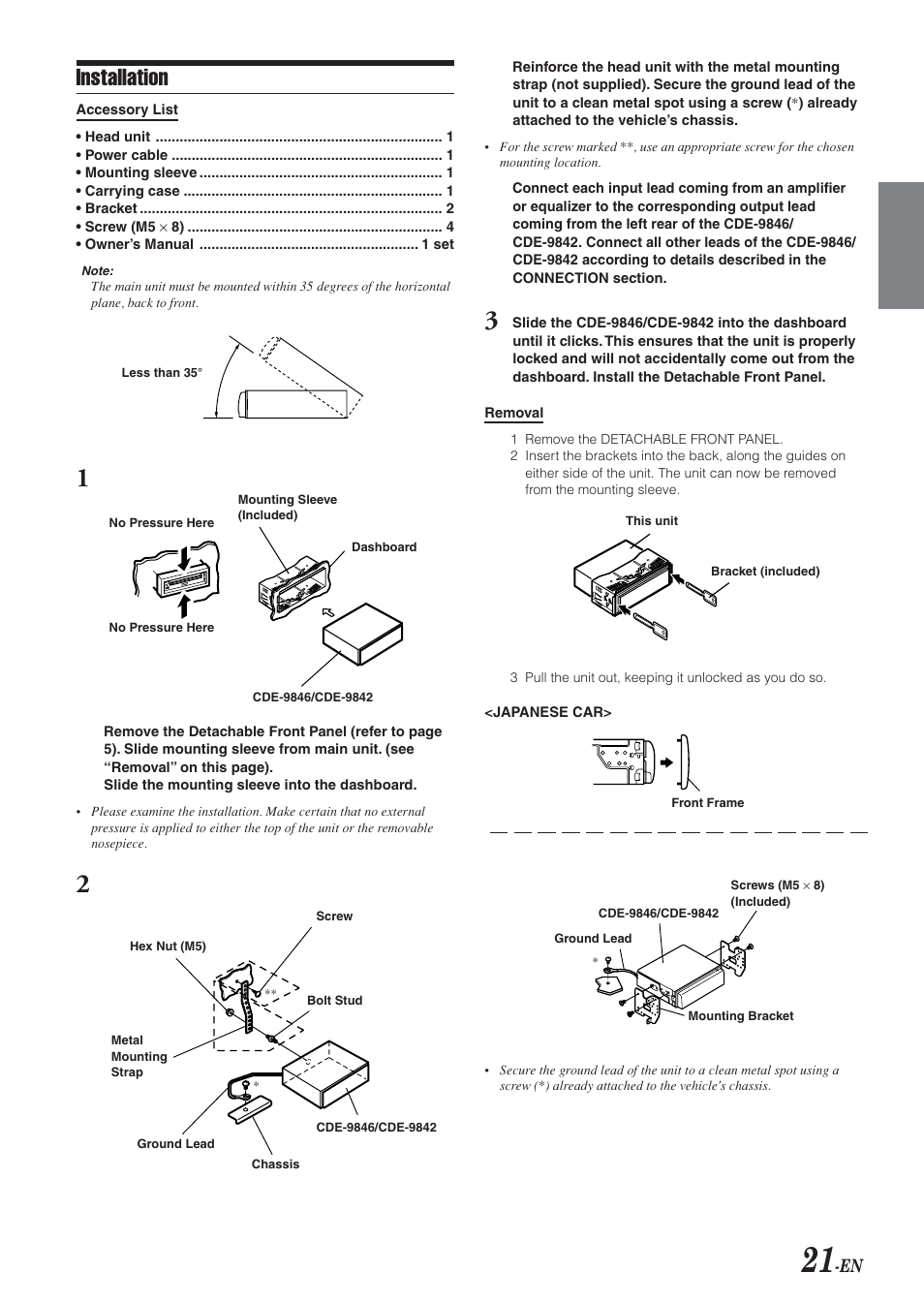 supplied hardware mounting removal installation alpine cde rh manualsdir com Alpine CDE 102 Alpine CDE 102