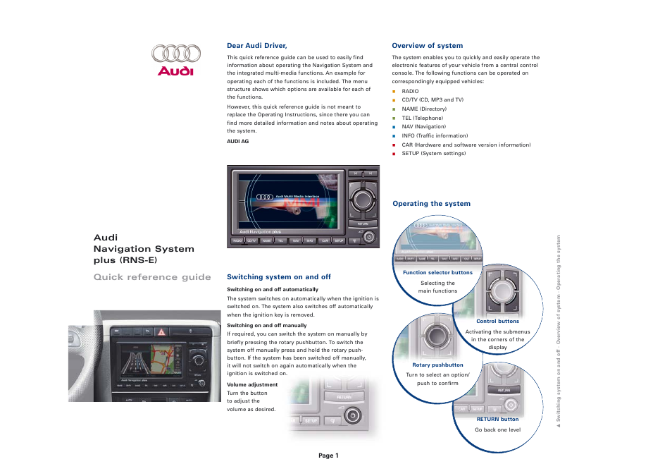audi navigation system plus rns e user manual 8 pages rh manualsdir com Audi A8 Navigation audi navigation plus user manual