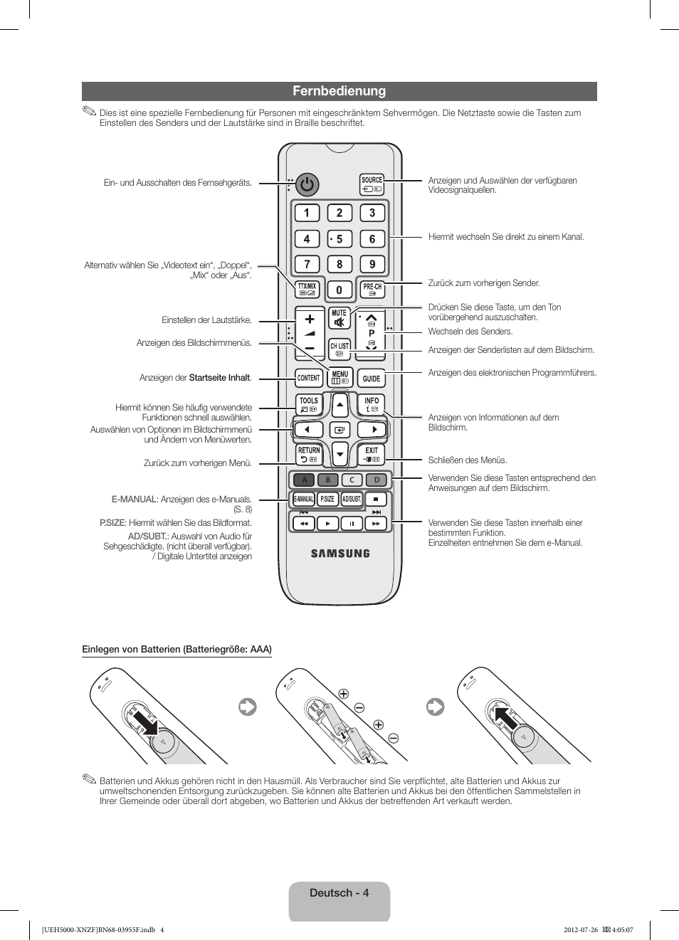 Fernbedienung | Samsung UE40EH5000W User Manual | Page 28 / 49