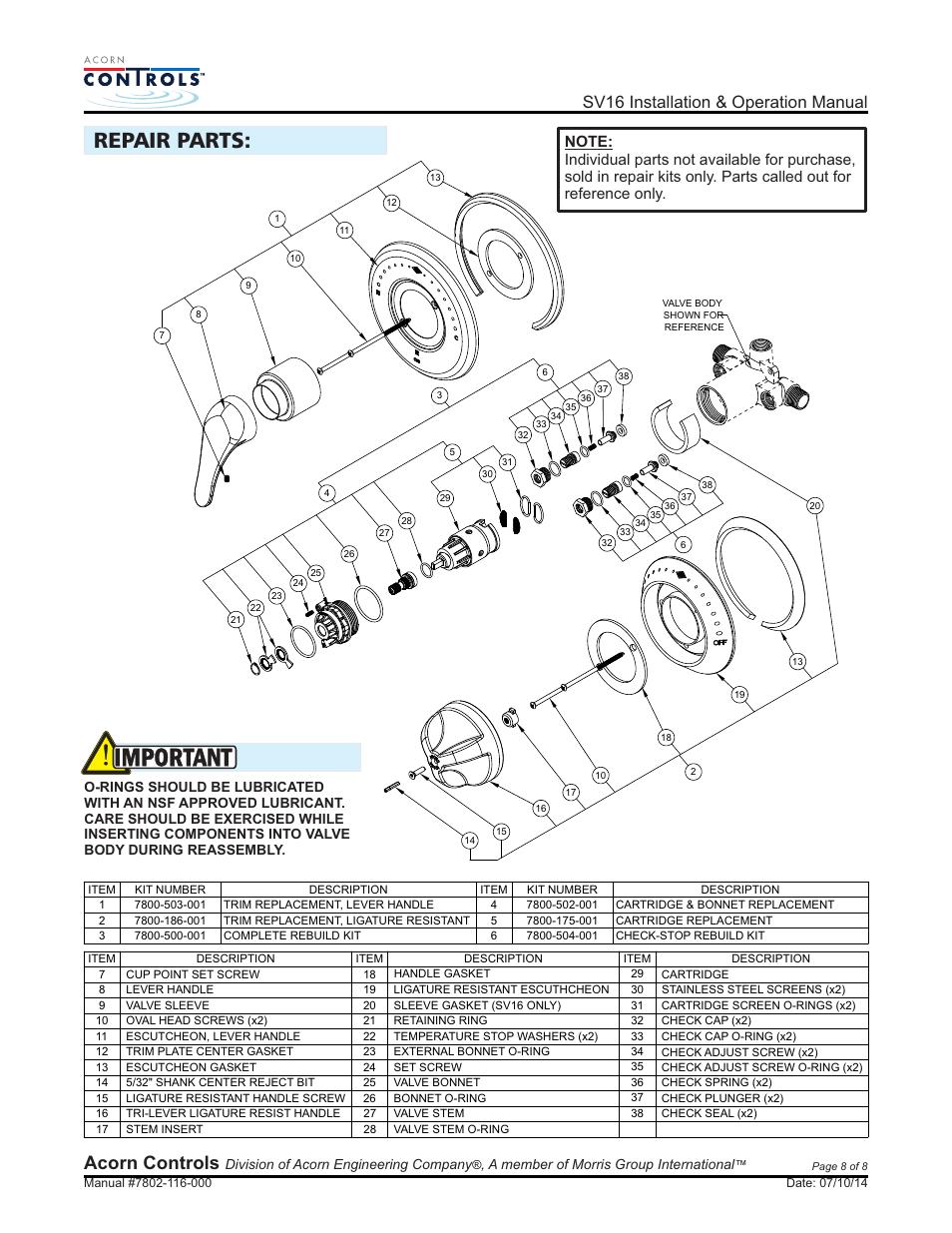 Important  Repair Parts  Acorn Controls
