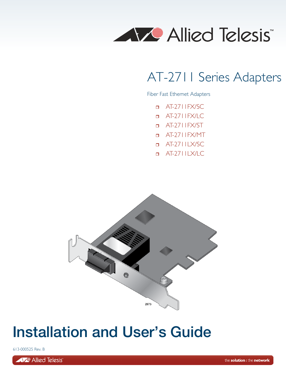 Allied Telesis AT-2711 Series Adapters User Manual | 136 pages