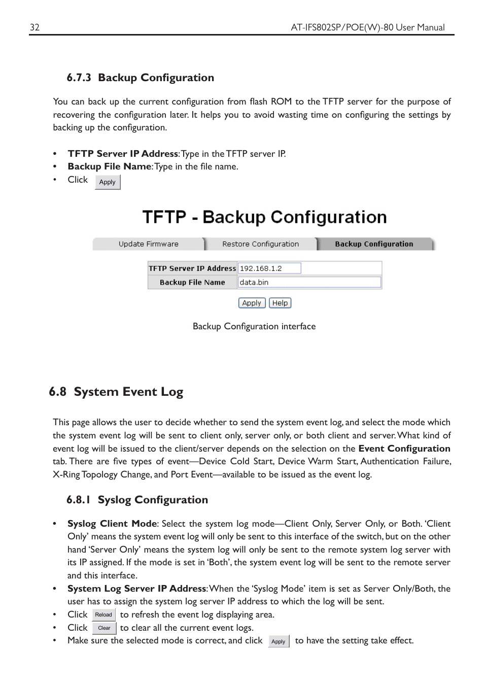 8 system event log, 3 backup configuration, 1 syslog