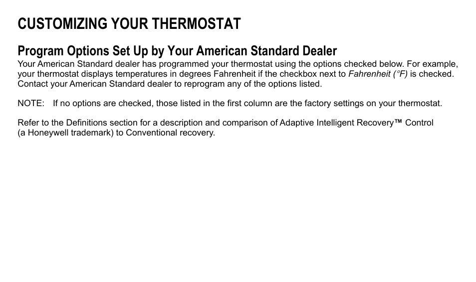 Customizing your thermostat   American Standard ASYSTAT500C User ...