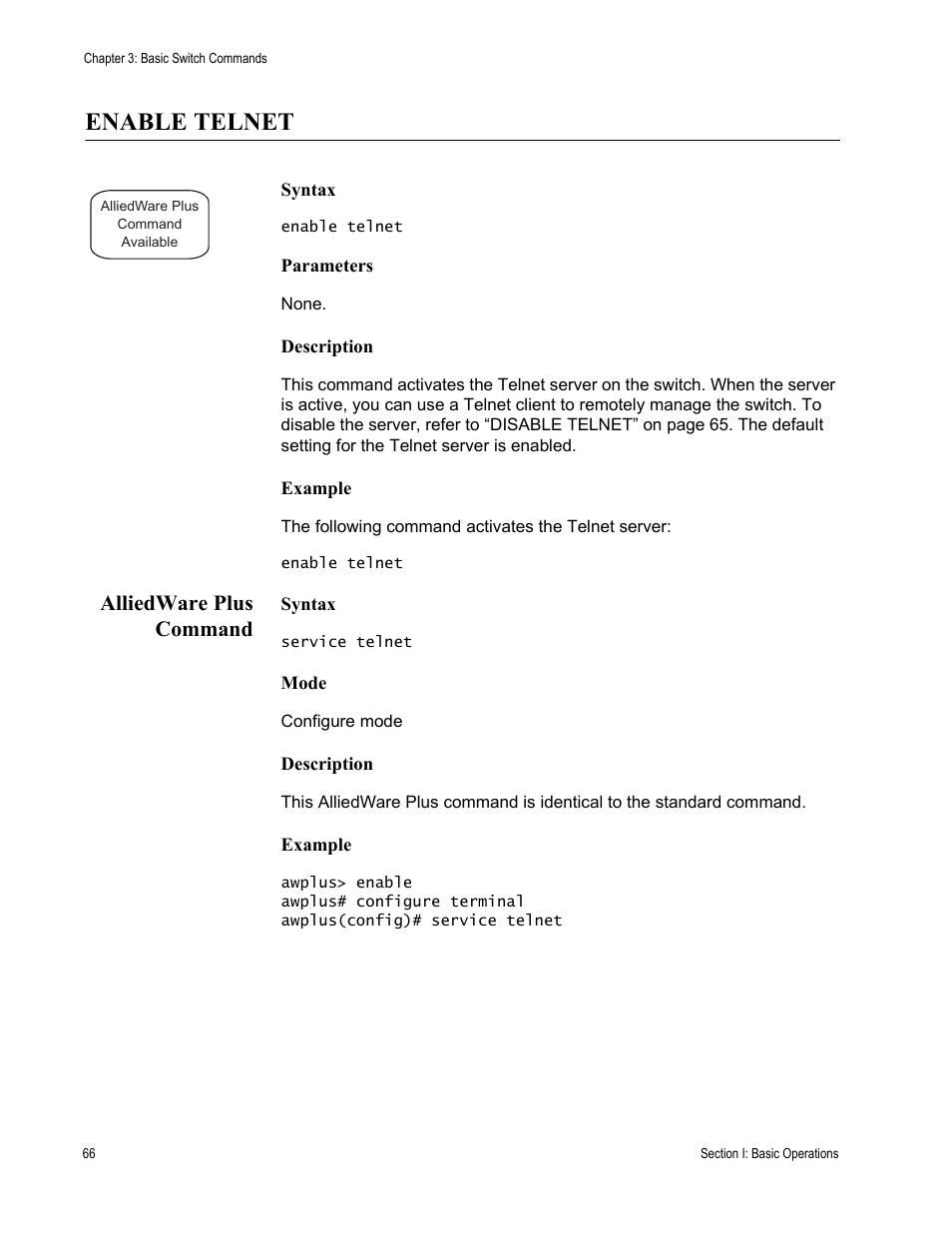 Enable telnet, Alliedware plus command | Allied Telesis AT