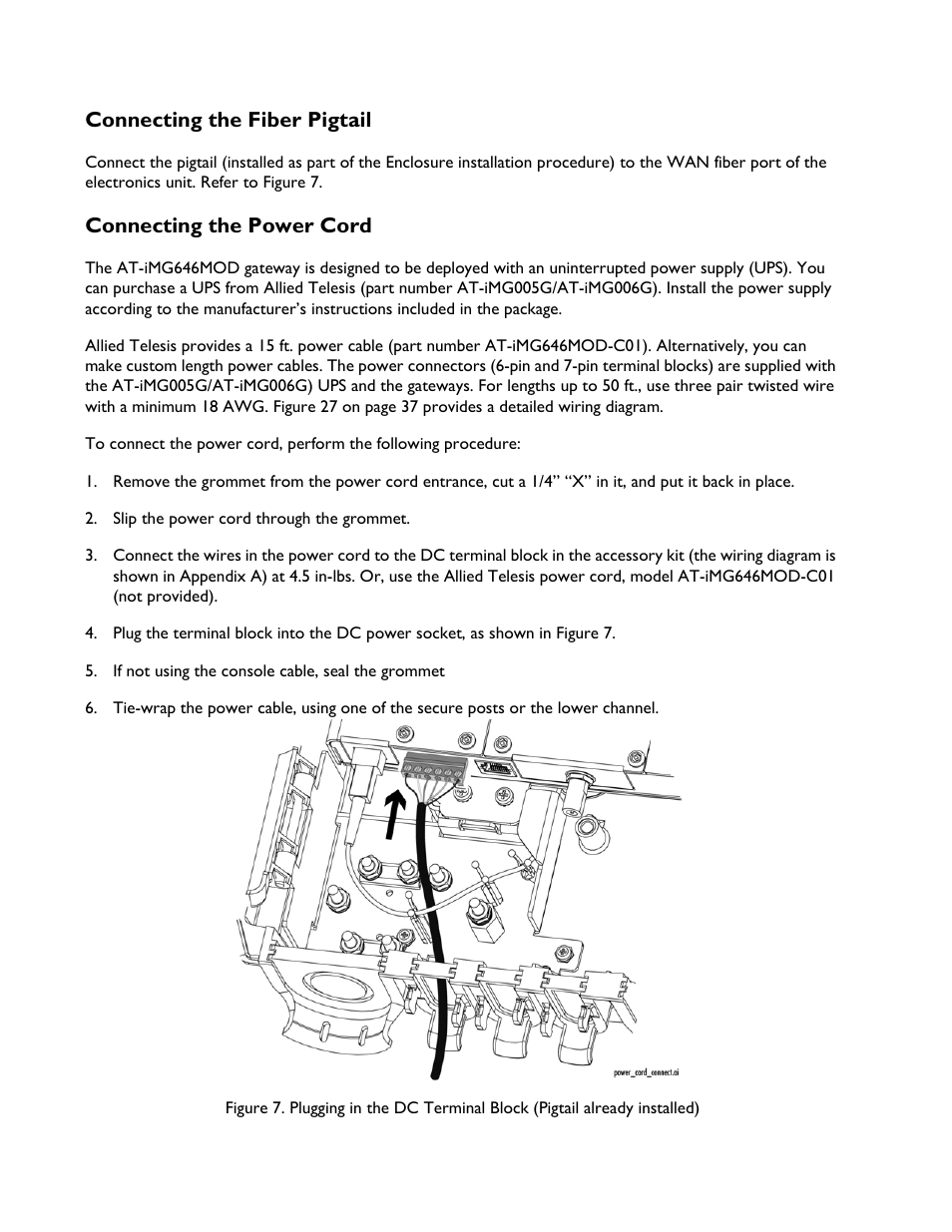 connecting the fiber pigtail, connecting the power cord | allied telesis  at-img6x6mod electronics unit user manual | page 14 / 46