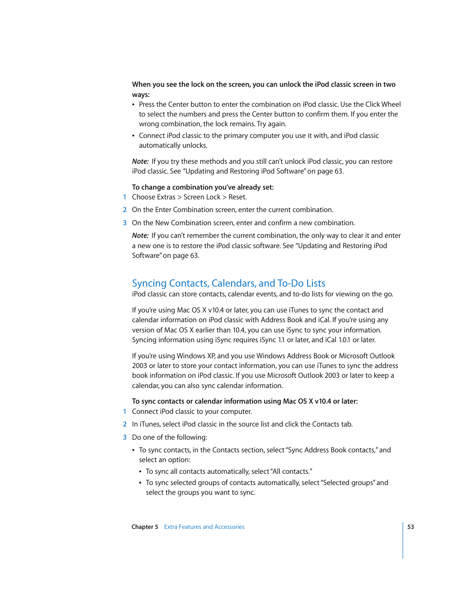 Syncing contacts, calendars, and to-do lists | Apple iPod Classic User  Manual