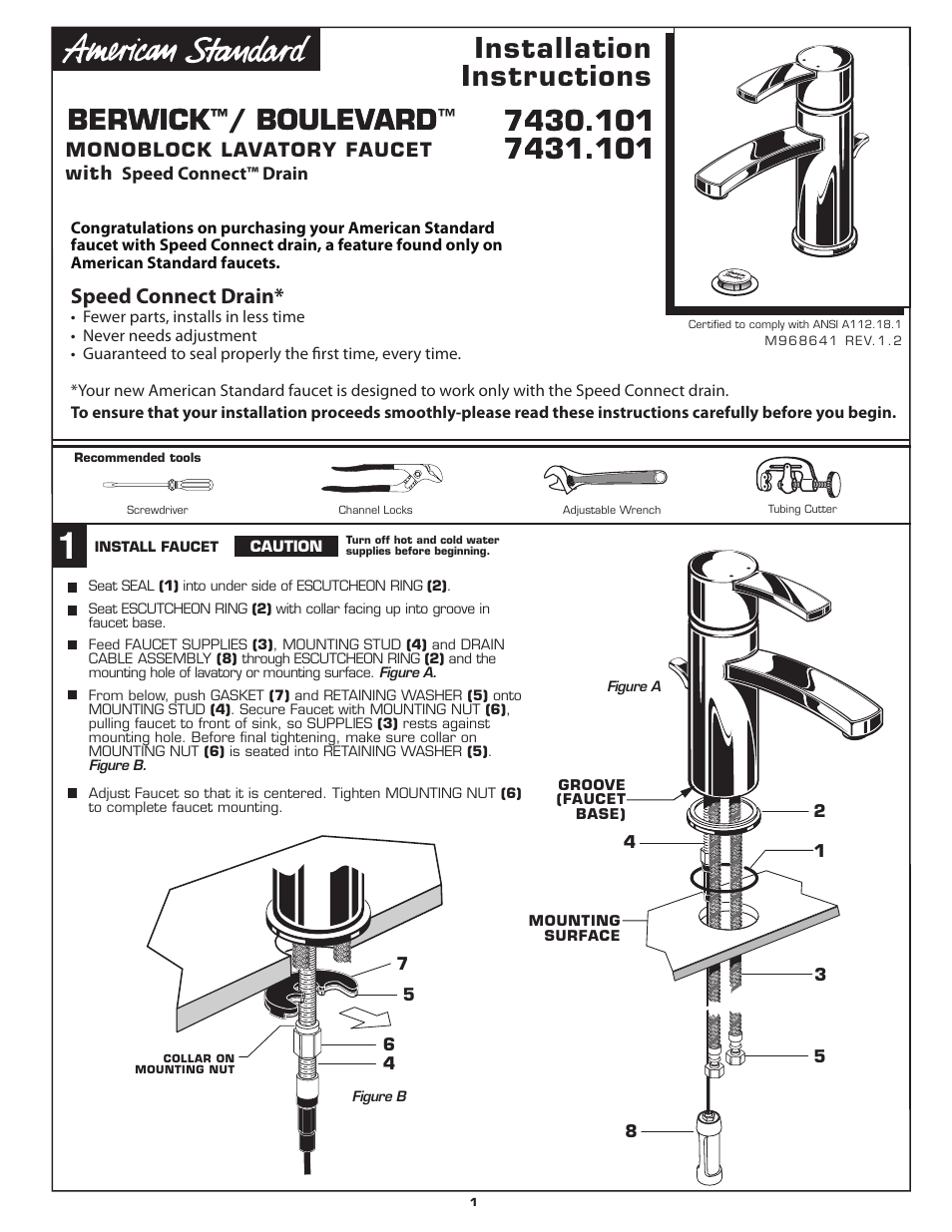 American Standard BERWICK M968641 User Manual | 6 pages