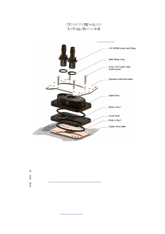 Swiftech Storm User Manual 7 Pages Pentium 4 Block Diagram