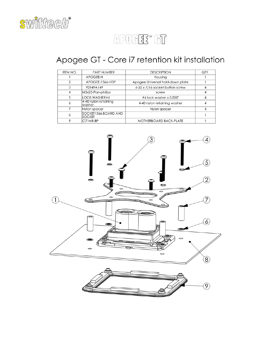 Swiftech APOGEE GT CI7 KIT User Manual | 2 pages