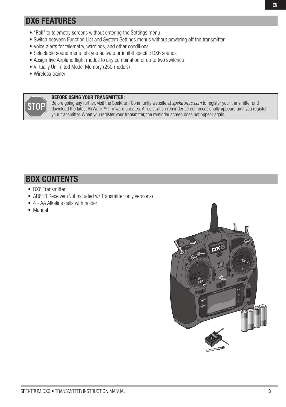Box contents dx6 features, 3spektrum dx6 • transmitter instruction