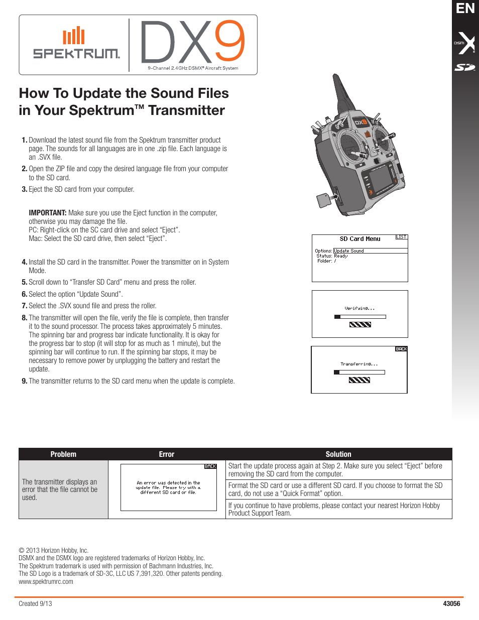 Spektrum SPMR9900 DX9 Sound Files User Manual | 1 page | Also for