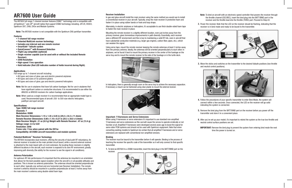 Spektrum SPMAR7600 User Manual | 4 pages | Also for: SPMAR7610