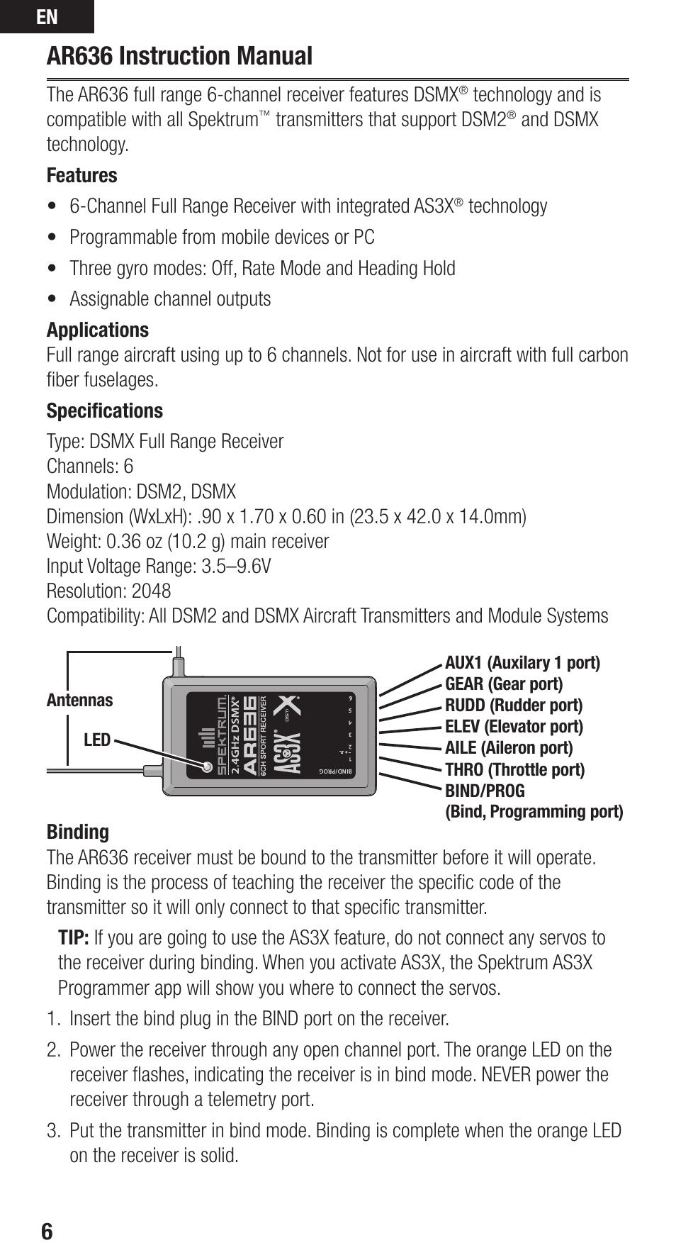 Ar636 instruction manual | Spektrum SPMAR636 User Guide User