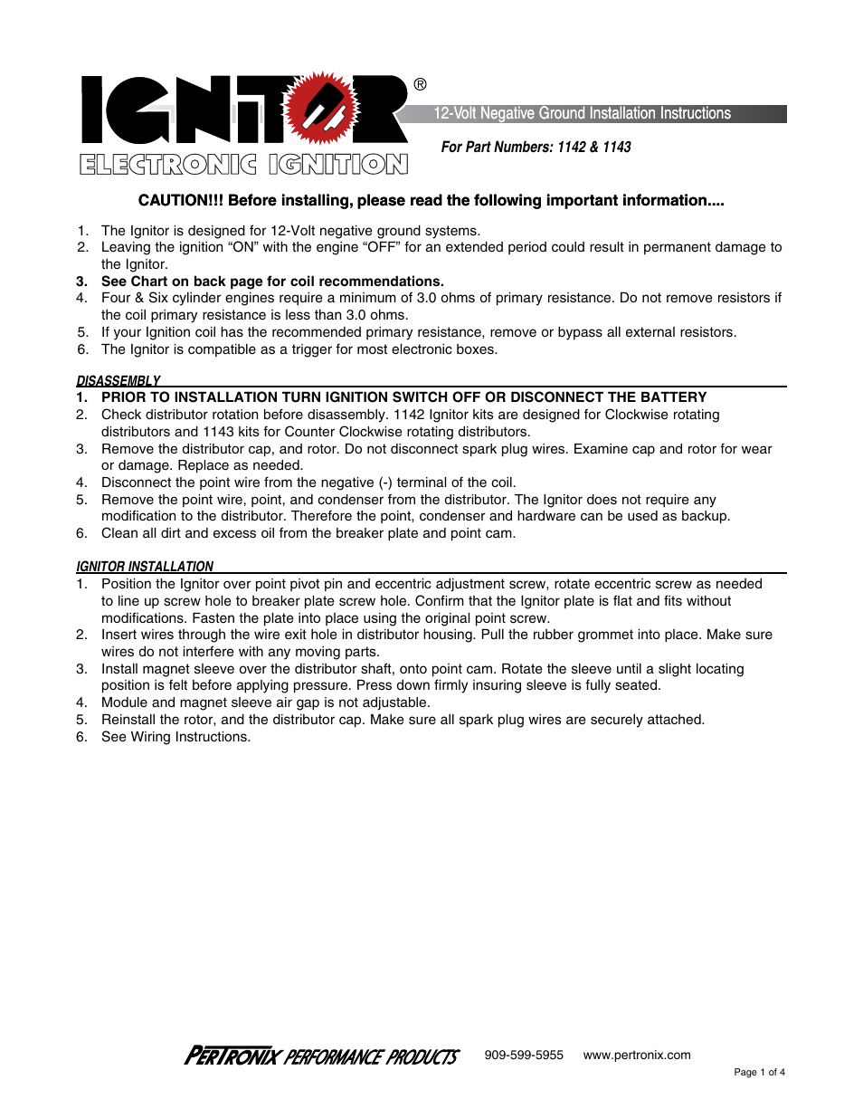 PerTronix Ignitor 1143 User Manual | 4 pages | Also for: Ignitor 1142