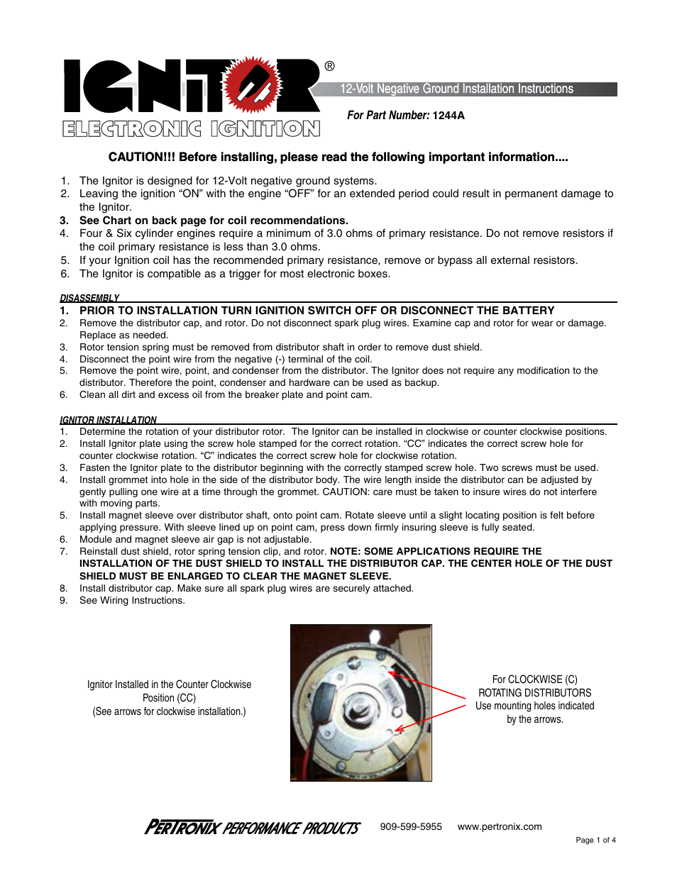 PerTronix Ignitor 1244A User Manual | 4 pages. Pertronix Electronic Ignition  ...