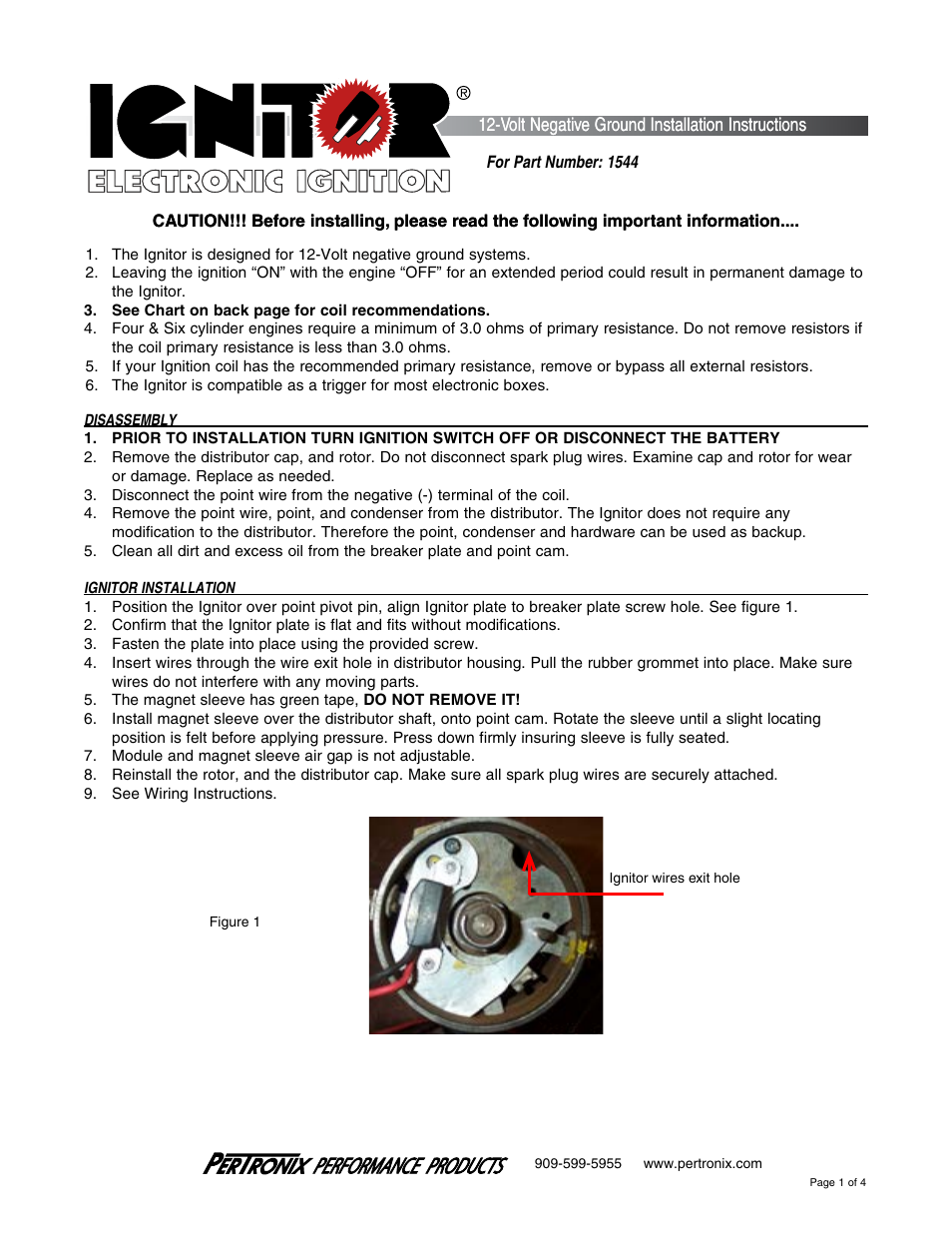 Pertronix Ignitor Wiring Instructions Trusted Diagrams Msd Ignition Ii Diagram For Distributor 1544 User Manual 4 Pages Problems With Iii