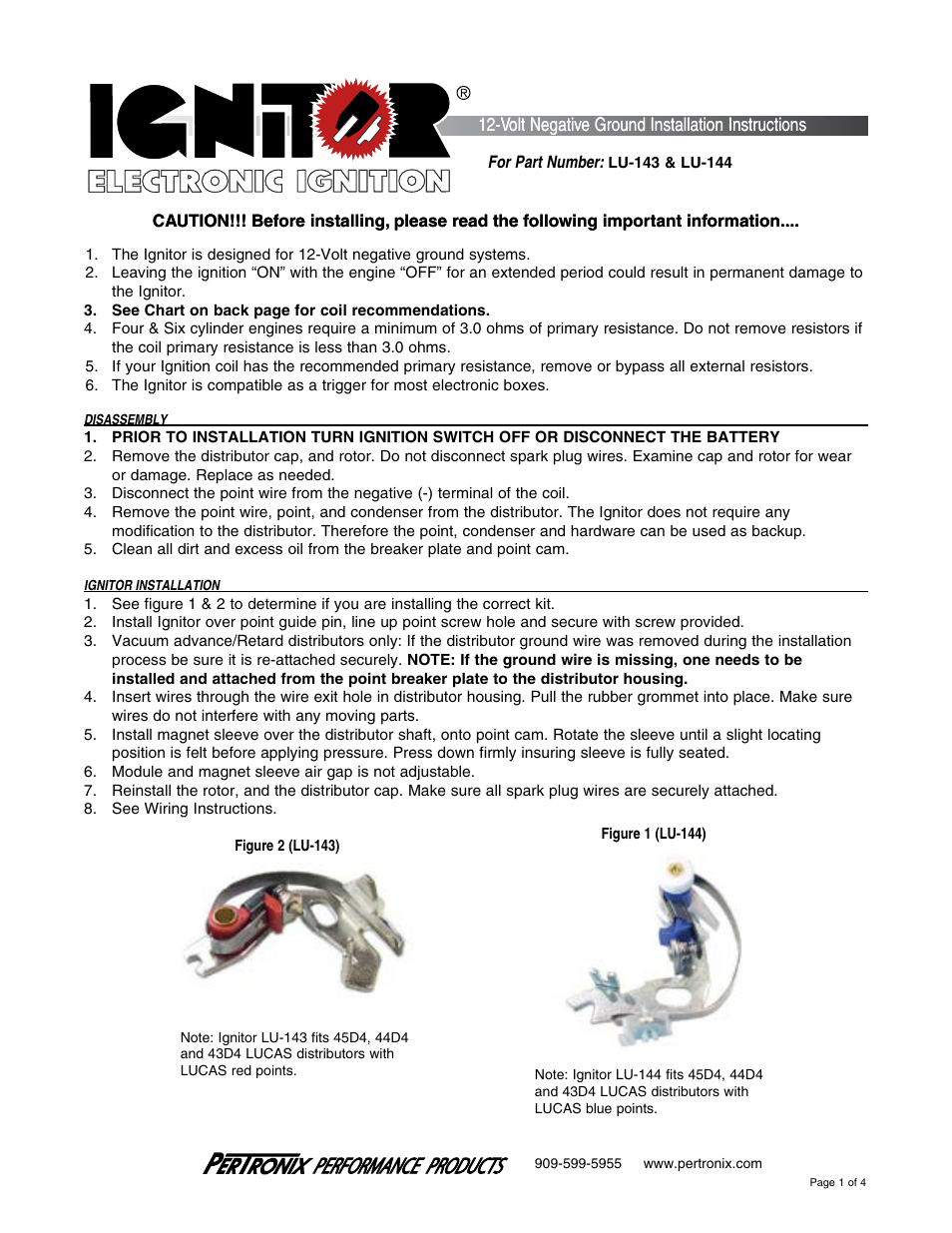 PerTronix Ignitor LU-144 User Manual | 4 pages | Also for Ignitor LU-143  sc 1 st  manualsdir.com : pertronix wiring schematic - yogabreezes.com