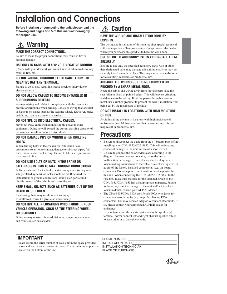 Installation & connections, Installation and connections, Warning | Alpine  CDA-9853 User Manual | Page 44 / 55