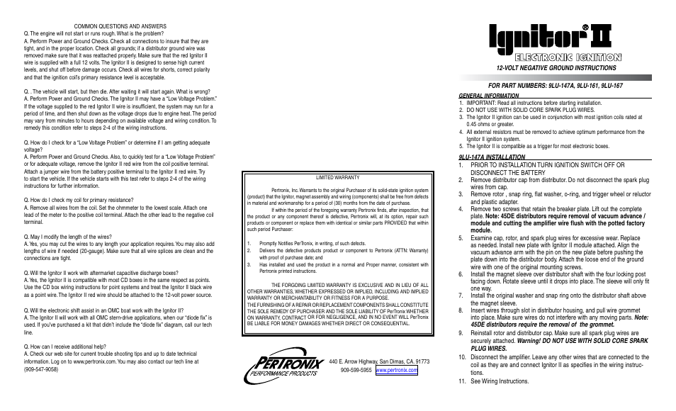 Pertronix Ignitor Ii 9lu 167 User Manual 2 Pages Also For