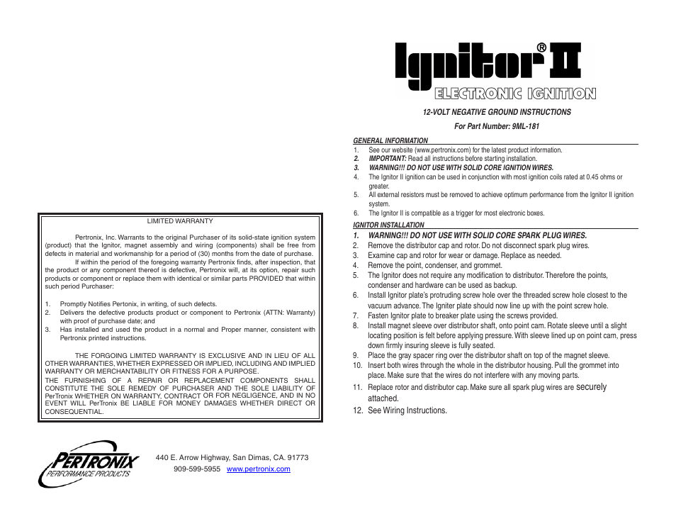 Pertronix Ignitor Ii Wiring Diagram - Wiring Solutions