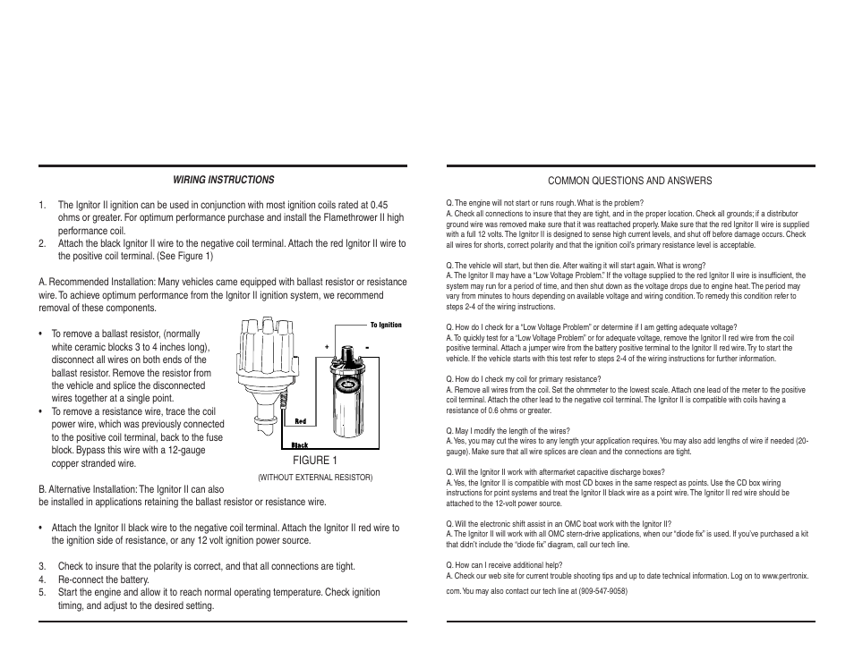 PerTronix Ignitor II 9MR-LS3 User Manual   Page 2 / 2   Also for ...