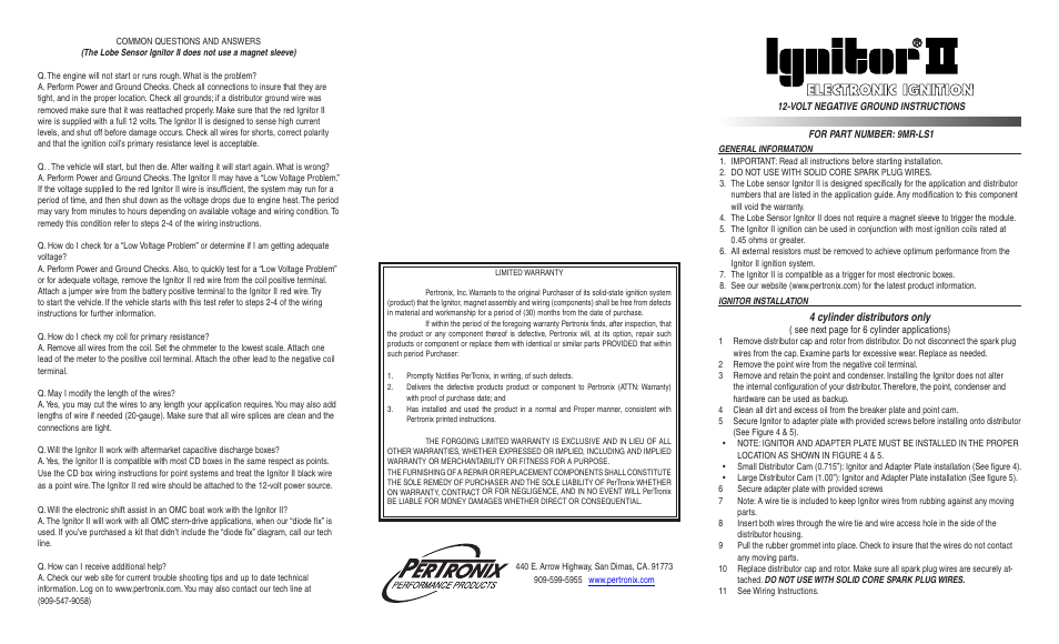 Pertronix ignitor ii 9mr ls1 user manual 2 pages sciox Choice Image