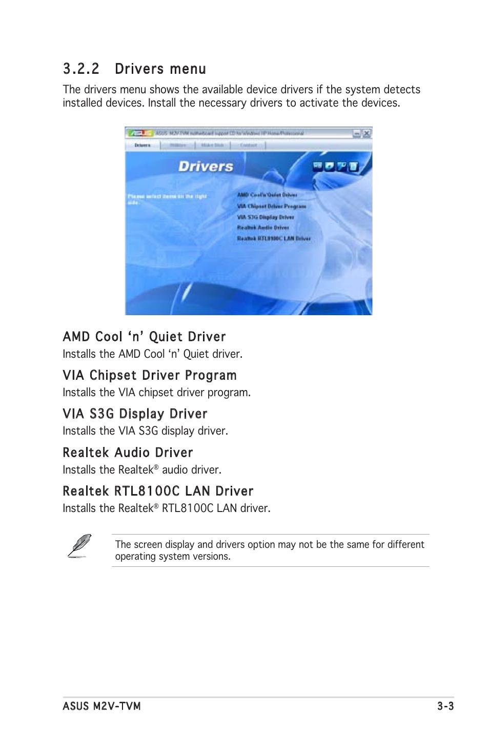 2 drivers menu asus m2v tvm user manual page 79 82 original mode rh manualsdir com Images NYS Drivers Manual Drivers Manual Book