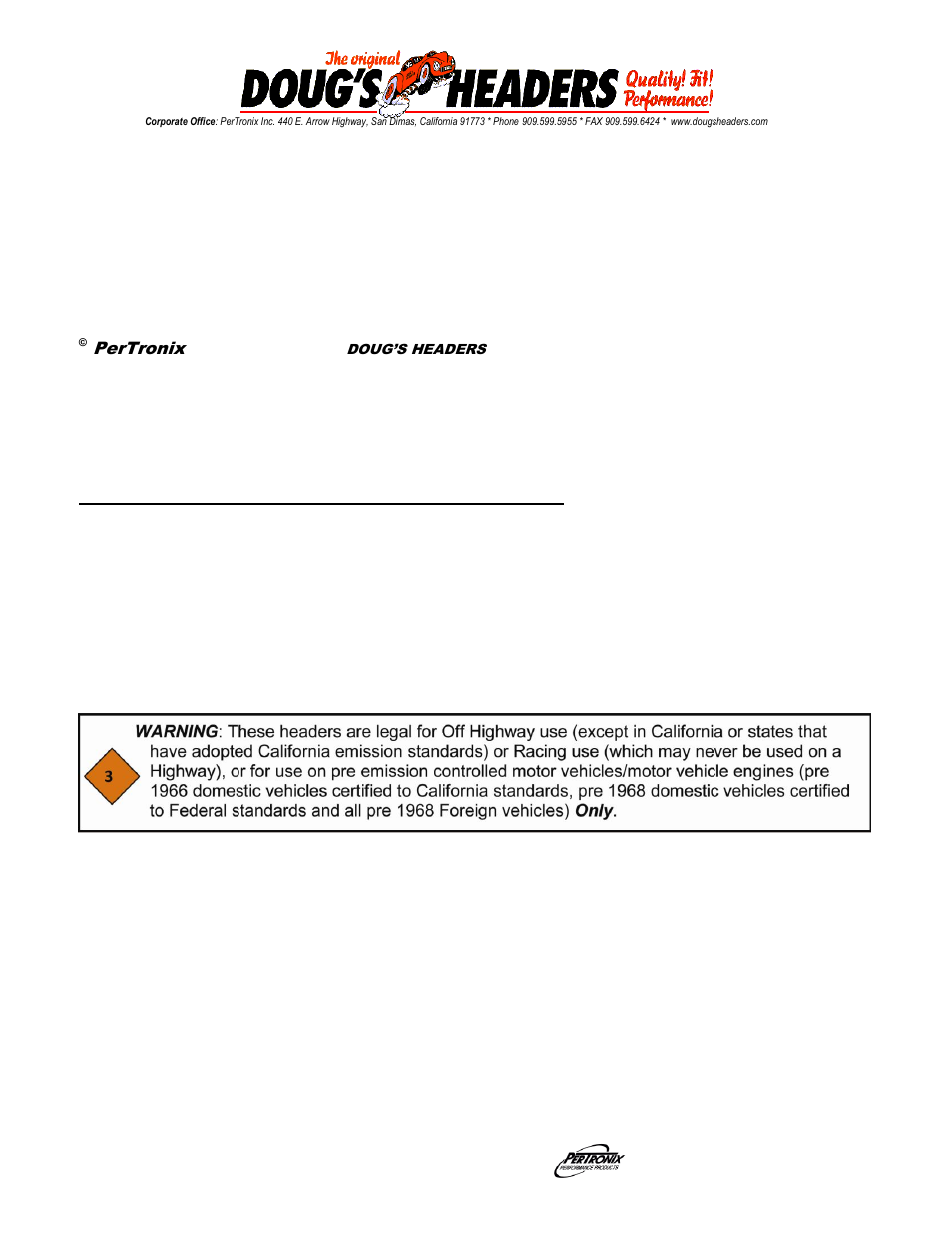Pertronix Dougs Headers D626 User Manual 3 Pages Detailed Power Steering Bracketry Installation Diagram