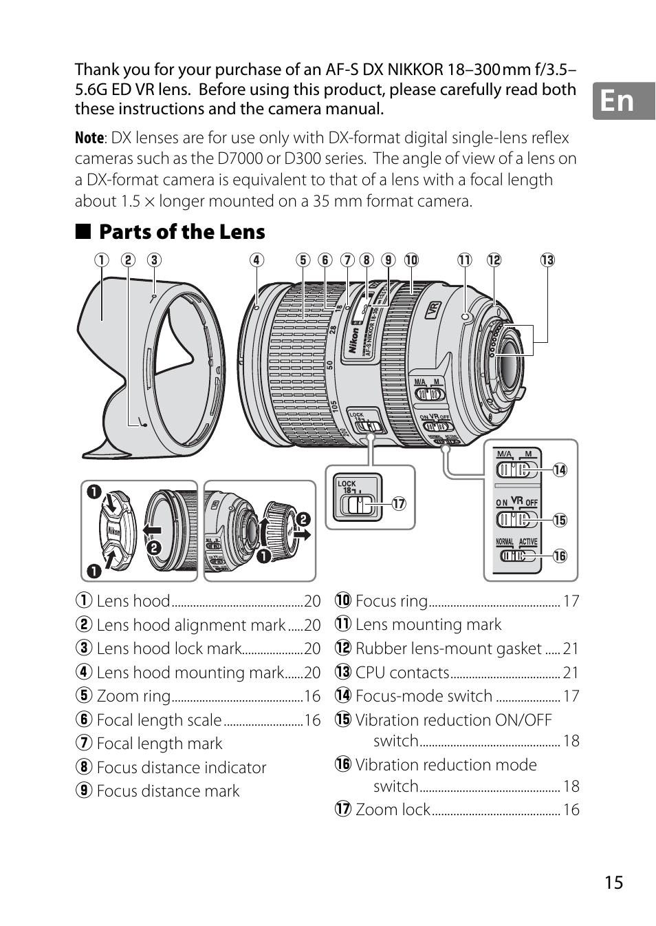 Parts Of The Lens Nikon 18 300mm F 35 56g Ed Vr Af S Dx Nikkor 55 45