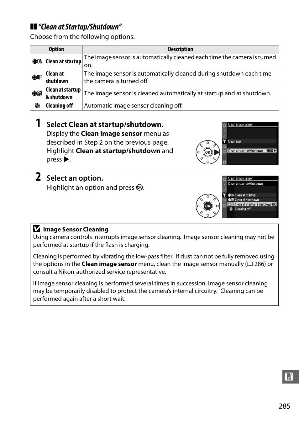 clean at startup shutdown nikon d7000 user manual page 305 348 rh manualsdir com nikon d7000 user manual download d7000 user manual pdf
