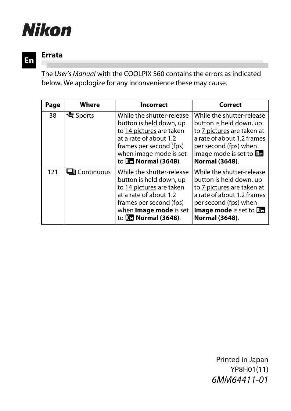 nikon s60 user manual 1 page rh manualsdir com nikon d60 user manual english nikon d60 user manual english