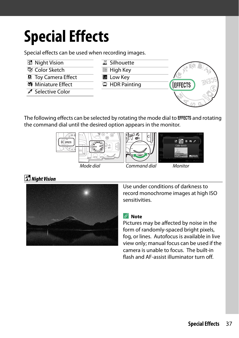 Special effects, Night vision | Nikon D5300 User Manual