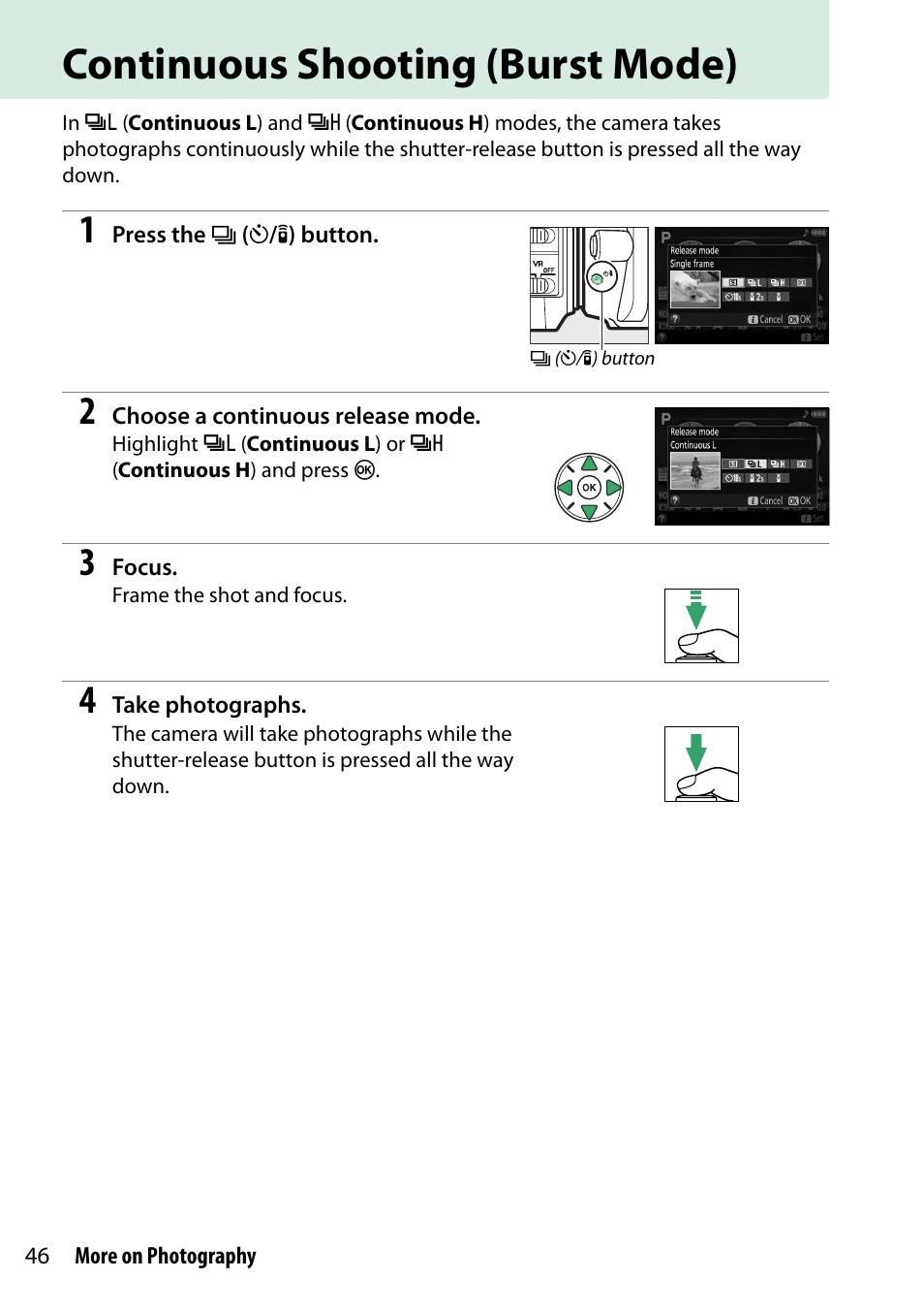 Continuous shooting (burst mode) | Nikon D5300 User Manual