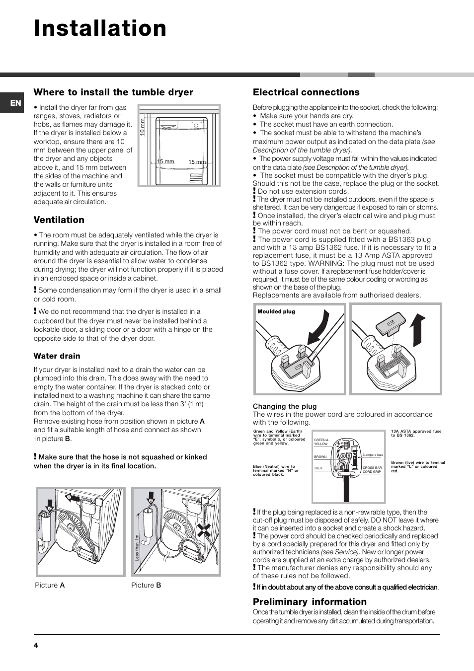 Installation Where To Install The Tumble Dryer Ventilation Wiring Indesit Idc85 User Manual Page 4 16