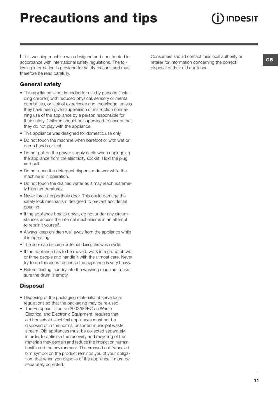 Indesit iwd61450 user manual   page 14 / 16.