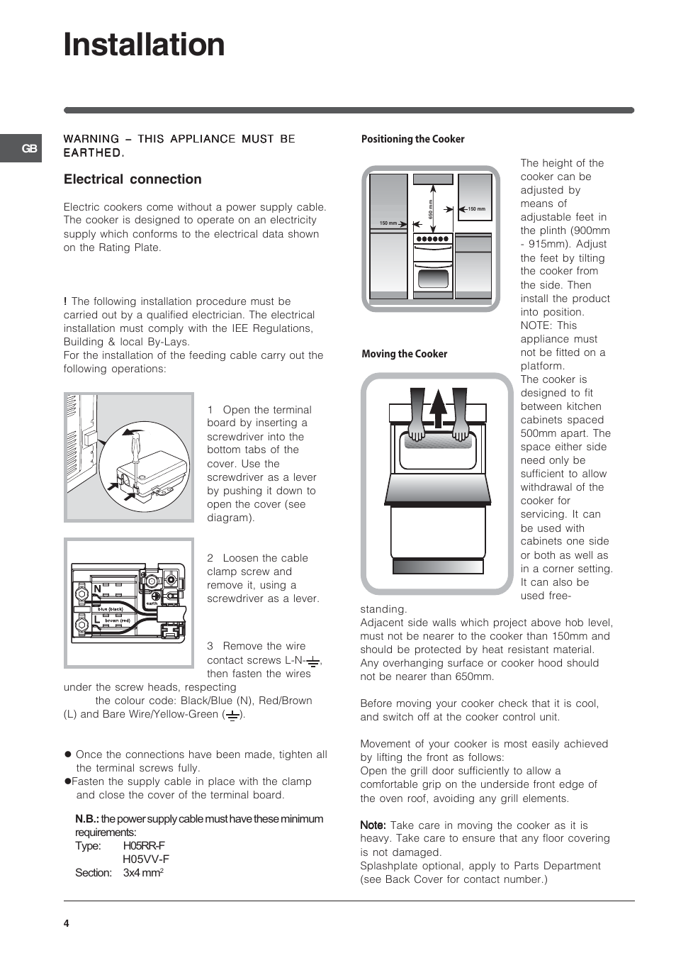 Installation Electrical Connection Indesit Id50e1w User Manual Wiring Regulations Cooker Switch Page 4 24