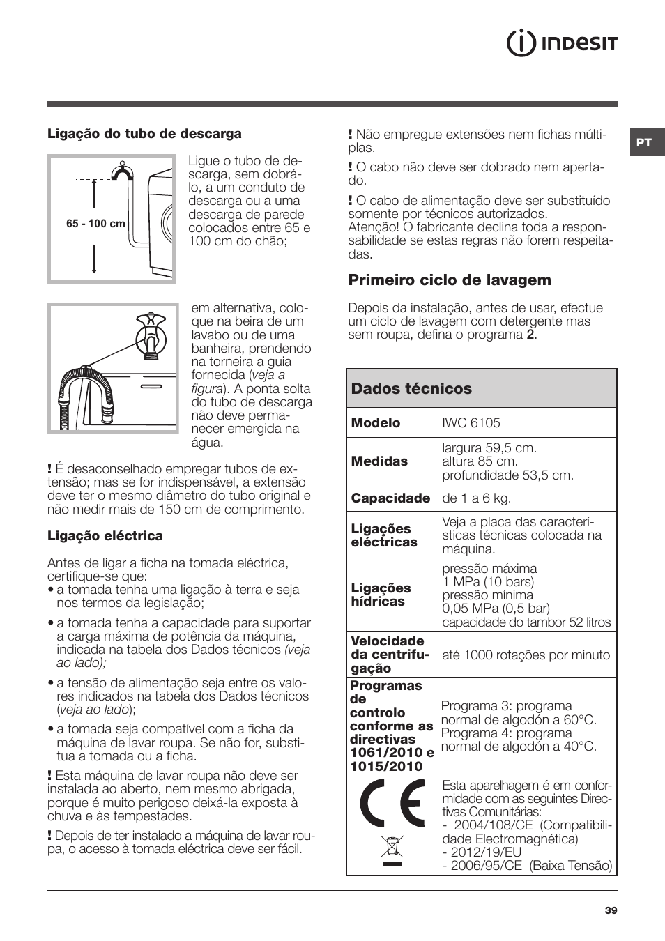 indesit iwc 6105 eu user manual page 39 72 original mode rh manualsdir com