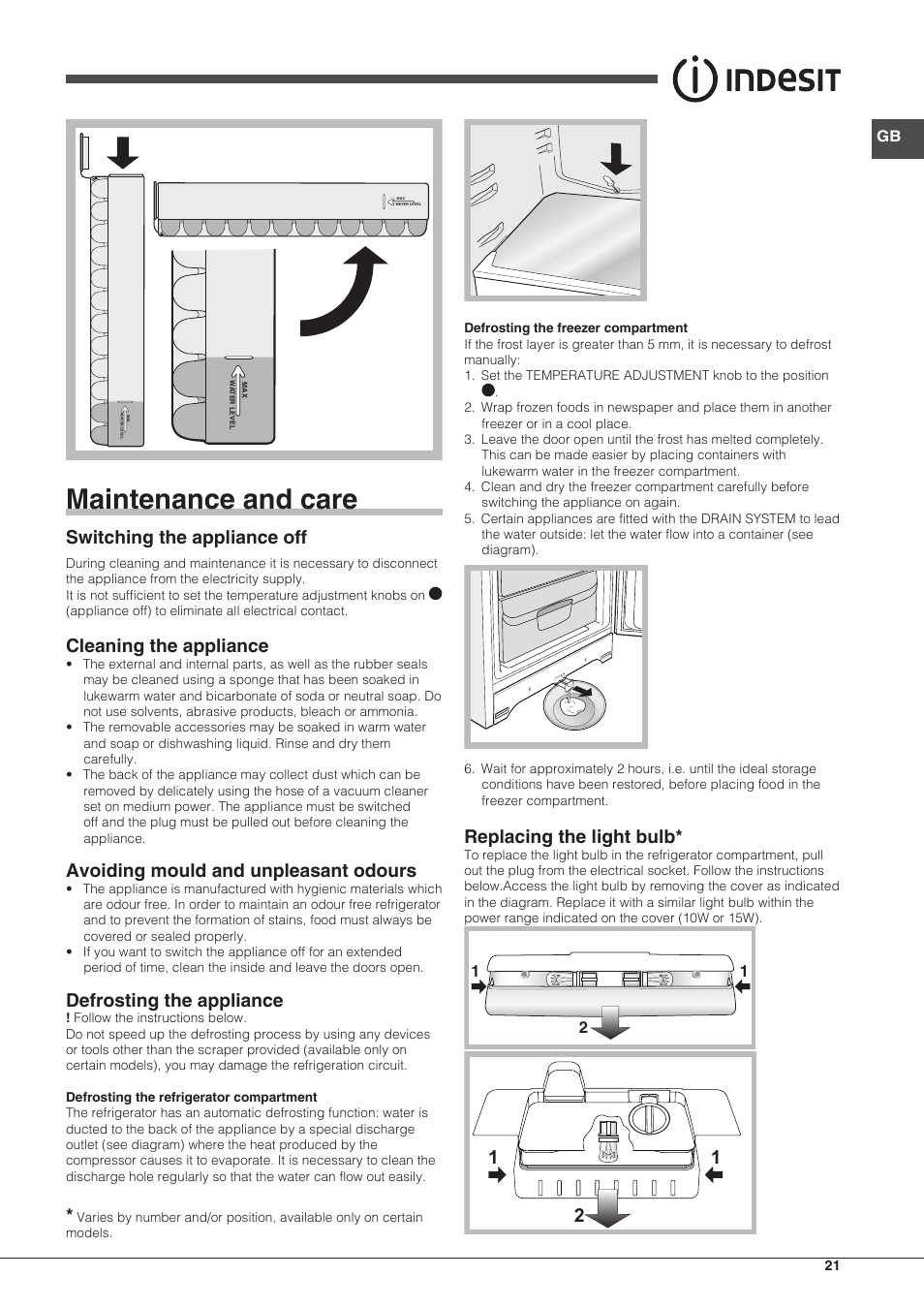 Maintenance and care, Switching the appliance off, Cleaning the appliance |  Indesit BIAA-13-X User Manual | Page 21 / 68