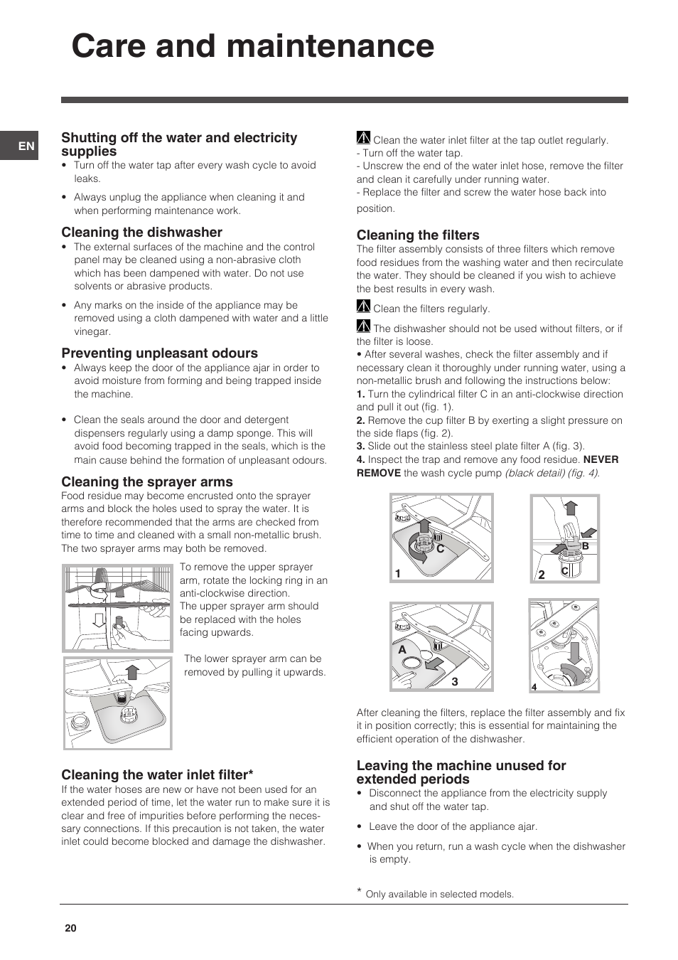 Care and maintenance | Indesit DSG-051-NX-EU User Manual | Page 20 ...