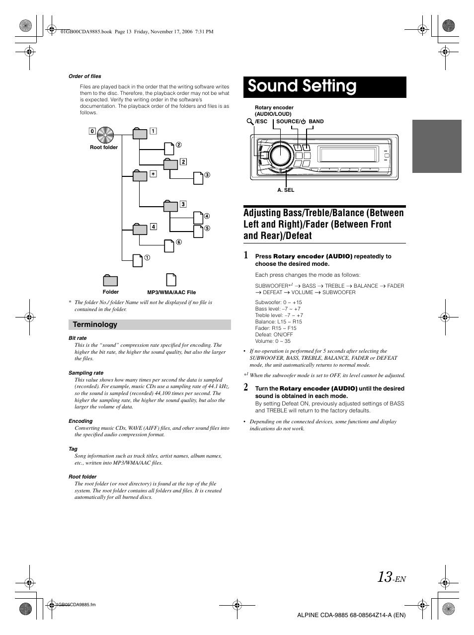sound setting alpine cda 9885 user manual page 15 41 rh manualsdir com alpine cda 9855 manual alpine cda-9885 installation manual