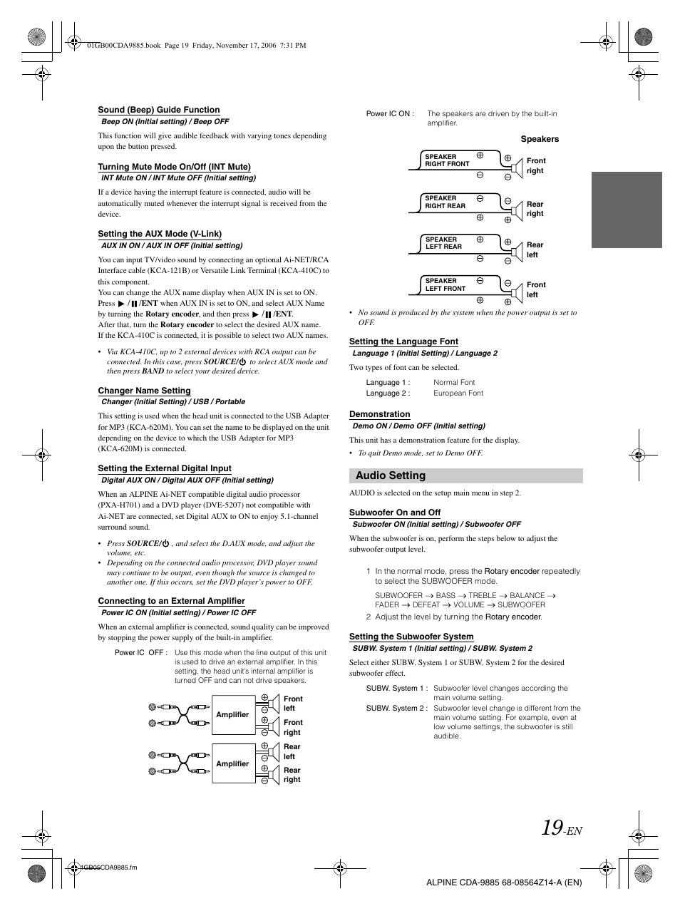 audio setting alpine cda 9885 user manual page 21 41 rh manualsdir com alpine cda 9883 manual download alpine cda-9885r manual