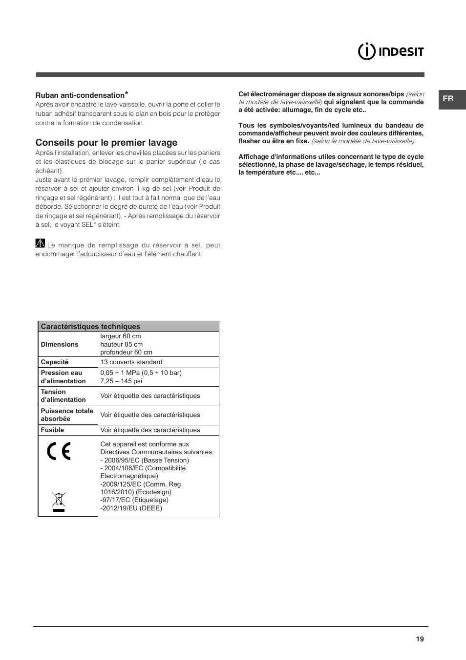 Conseils Pour Le Premier Lavage Indesit Dfg 15b1 A Eu User Manual