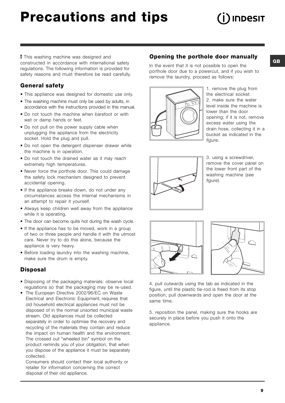 precautions and tips general safety disposal indesit iwc 6105 rh manualsdir com