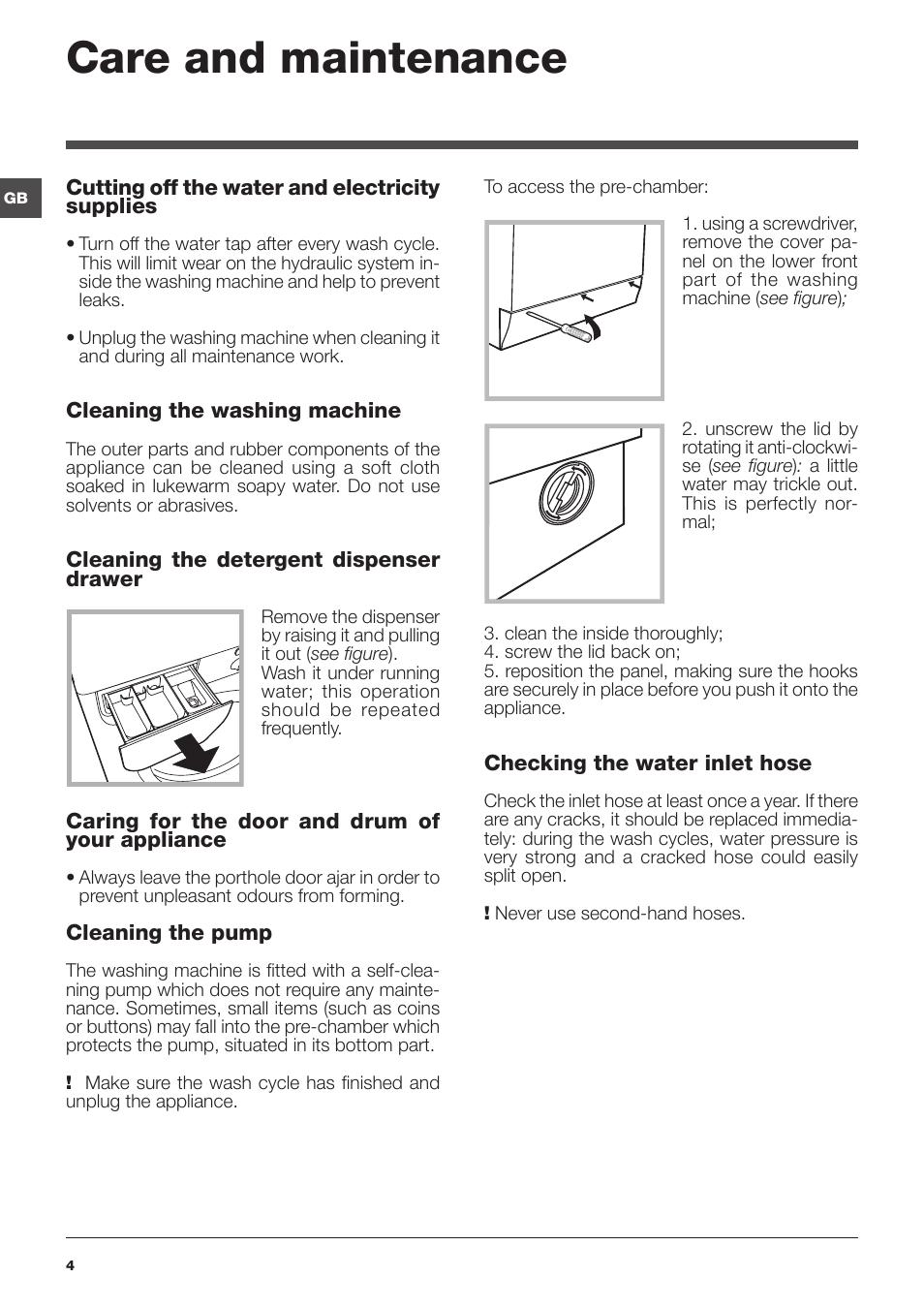 care and maintenance indesit iwc 61051 eu user manual page 4 rh manualsdir com indesit iwc 61051 user manual indesit iwc 61051 manual de utilizare