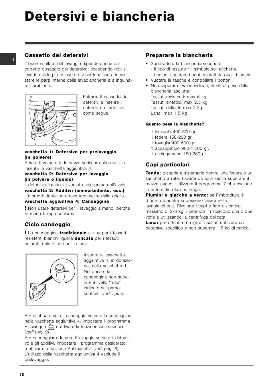 detersivi e biancheria, cassetto dei detersivi, ciclo candeggio
