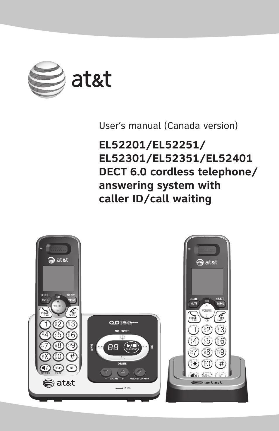 at t dect 6 0 el52201 user manual 83 pages also for dect 6 0 rh manualsdir com Panasonic Cordless Phones DECT 6.0 Plantronics DECT 6.0 Manual
